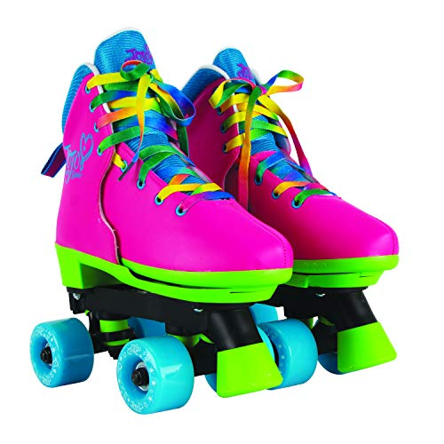 Circle Society Classic Adjustable Indoor Outdoor Childrens Roller Skates - JoJo Rainbow - Sizes 12-3