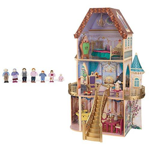 KidKraft Belles Enchanted 3 Floor Wooden Pretend Play Dollhouse  Doll Family