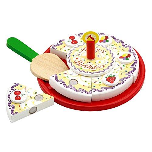 PIXNOR Wooden Pretend Play Birthday Cake Pizza Toy for Children Kids