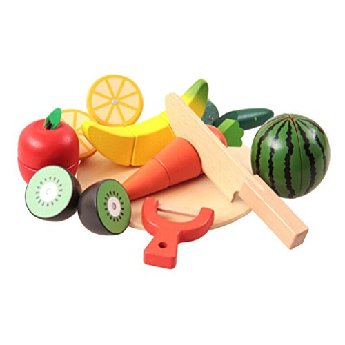 ROSENICE Wooden Pretend Play Food Set Cutting Fruit Vegetable Toy Kids Educational toy