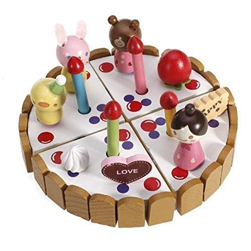SanWay Wooden Pretend Play Birthday Cake Toy