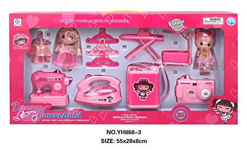 Emorefun Children Mini Play Housekeeping Toys for Pretend Play Game Sewing Machine Iron Washing Machine Camera etc
