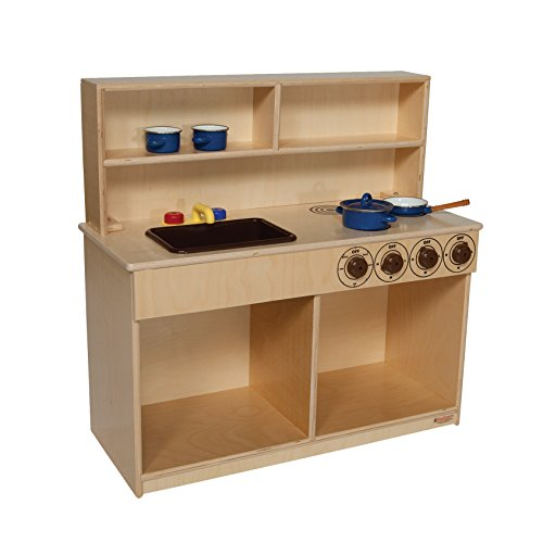Wood Designs Natural Environment 3-in-1 Kitchen - Natural - Kitchen Appliance Toys for Boys - Girls - Pretend Play Games - Gloss Finish - Non-toxic Adds Safety for Children - Eco-friendly - Solid Wood Construction - Lifetime Manufacturers Warranty