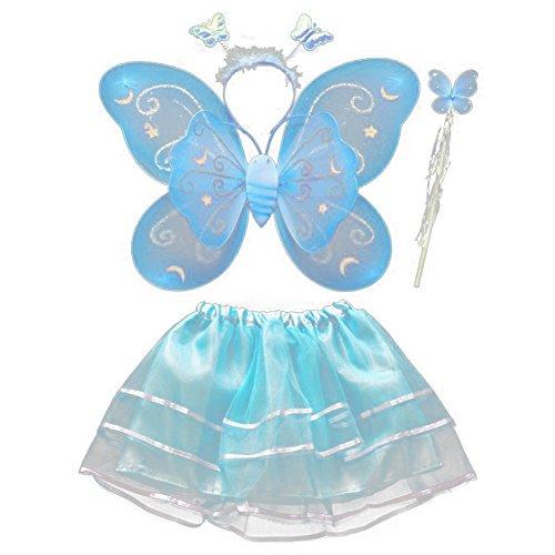 BOBORA Fairy Girl Butterfly Wing Wand Headband Tutu Skirt Halloween Costume Set