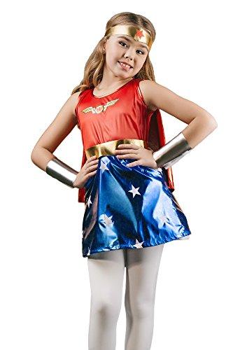 Kids Little Superheroine Comics Dress Up Role Play Halloween Costume 3-6 years