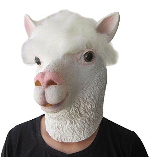 LUBBER Halloween Costume Alpaca Latex Animal Head Mask White