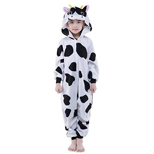 Newcosplay Unisex Children Cow Pyjamas Halloween Costume 10-height 56-59