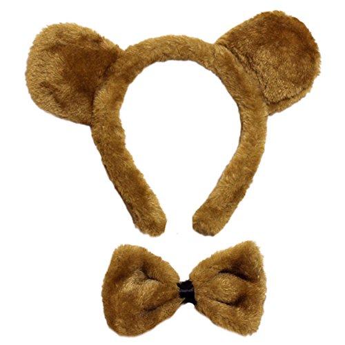 SeasonsTrading Brown Bear Ears Bow Tie Costume Set ~ Halloween Costume Kit