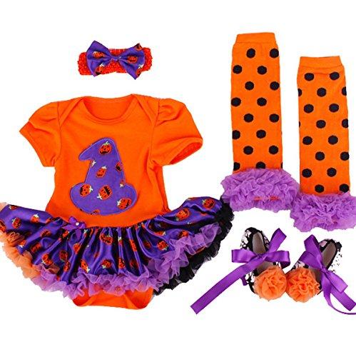 TANZKY Baby Girls Halloween Costumes Pumpkin Outfit Tutu Dress 4pcs US Size 12M