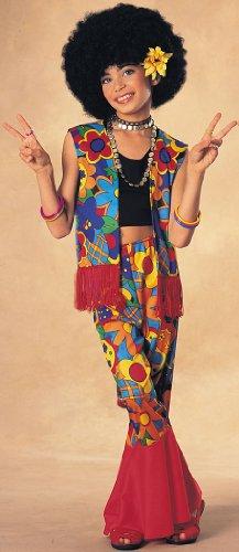 Girls Flower Power Hippie Costume - Child Large
