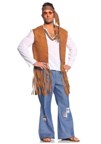 Underwraps Costumes  Mens Retro Hippie Costume - Right On WhiteTanBlue XX-Large