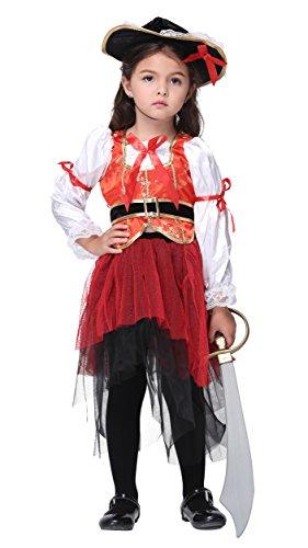 Girlscos Girls Pirate Costume 3 Piece Suit Kids Halloween Cosplay Costumes Medium Red