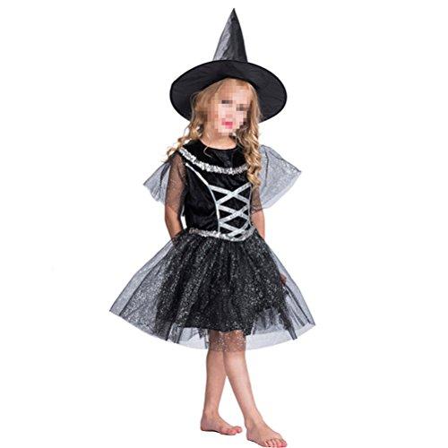 BESTOYARD Halloween Children Witch Costume Classic Kids Cosplay Costume Dress Black M