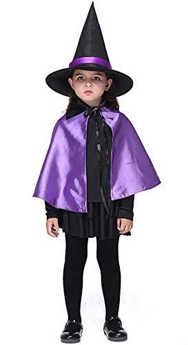 Brcus Kids Girls Witch Halloween Costume Shirt Skirt Cloak Hat Cosplay Outfit Mediumfor Height 105-115cm