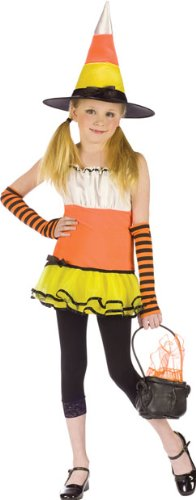 Preteen Candy Corn Witch Halloween Costume Large