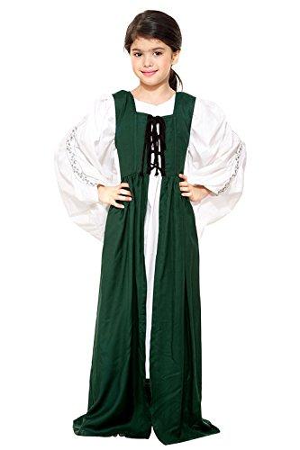 Childs Renaissance Medieval Costume Dress XL 12 yrs Green