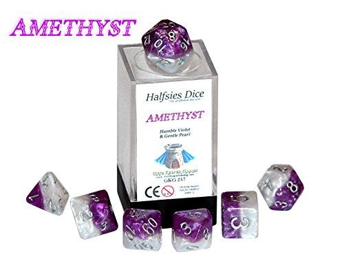 Amethyst Halfsies Dice - 7 die polyhedral rpg gaming dice set - Humble Violet Gentle Pearl
