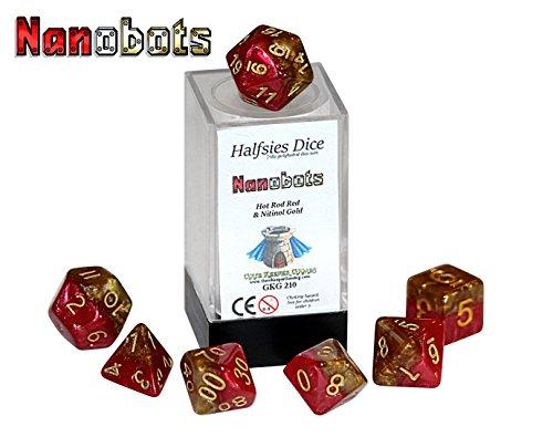 Nanobots Halfsies Dice - 7 die polyhedral rpg gaming dice set - Hot Rod Red Nitinol Gold