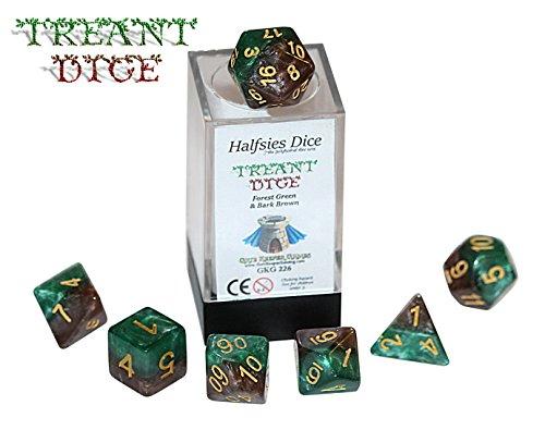 Treant Halfsies Dice - 7 die polyhedral rpg gaming dice set - Forest Green Bark Brown