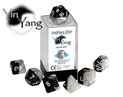 Yin Yang Halfsies Dice - 7 die polyhedral rpg gaming dice set - Black White