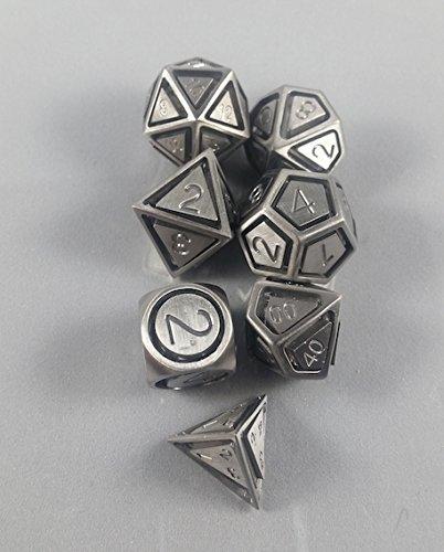 Floating Polyhedral 7-Die Set - Solid Steel - Gaming Dice