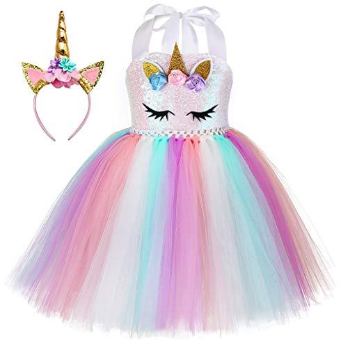 Kokowaii Fancy Girls Unicorn Dress Kids Halloween Costume with Headband