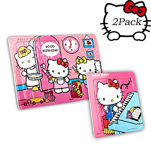 NEILDEN Hello Kitty 2 in 1 Puzzles for Kids 60 and 9 Pieces Jigsaw Puzzle Set for Children Toys Ages 4-8 Birthday Gifts for GirlsLearning Toys Lovely Cat