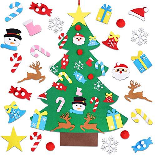 Garma Childrens Felt Christmas Tree Set Ornaments DIY Home Decoration Wall Hanging Childrens Felt Craft Kits for Christmas New Year Various Festivals Santa Snowman Reindeer