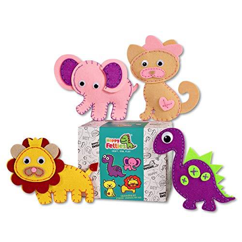 Happy Felties - Cuddly Friends - Felt Animal Crafting Sewing Kit and Animal Crafts - Fun DIY Stuffed Animal Sew Kits for Kids Boys and Girls - Beginner Friendly