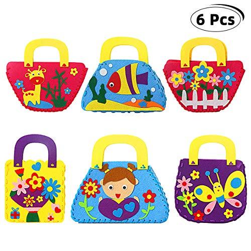 Sewing Kit for Children6 PCS SunBeter Craft Felt Kits for Kids Beginner DIY Handbag for Childrens Art Course Gifts for Girls