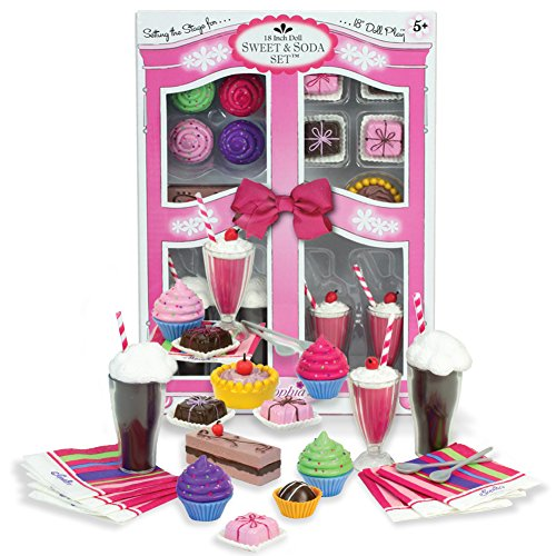 Complete 27 Pc Doll Accessory Food Set 15 Sweet Treats Spoons Paper Napkins 18 Inch Doll Pretend Doll Accessory Play Set Floats Shakes Cupcakes More in Decorative Keepsake Box by Sophias