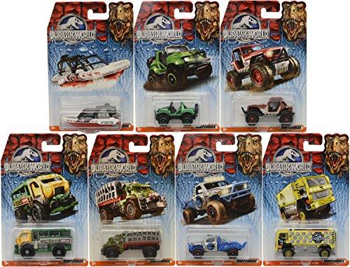 Matchbox Jurassic World Rock Shocker Die Cast Toy Vehicles 7 Pack Gift Set