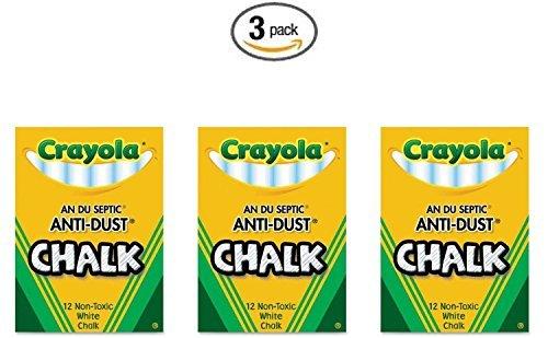 Crayola Nontoxic Anti-Dust Chalk White 12 SticksBox 50-1402 3 Pack