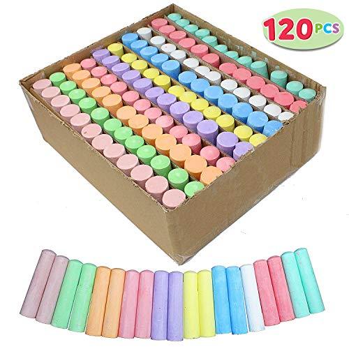 Joyin 120 Pack Giant Box Non-toxic Jumbo Washable Sidewalk Chalk Set in 10 Colors 120 Pieces