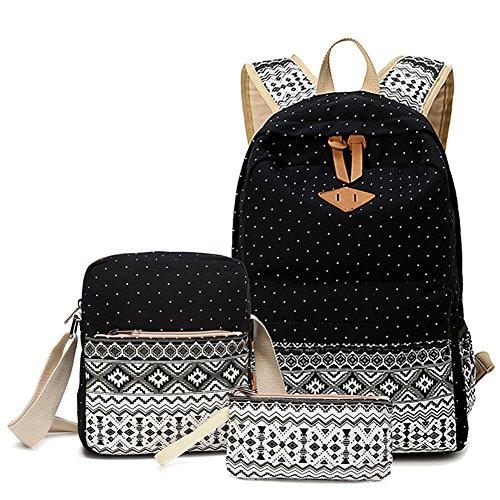 Abshoo Canvas Dot Backpack Cute Lightweight Teen Girls Backpacks School Shoulder Bags Black