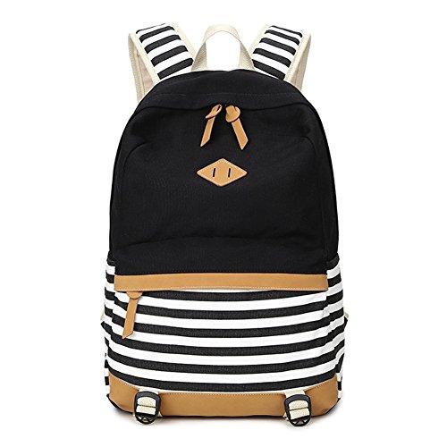 Abshoo Lightweight Canvas Backpacks for Girls School Rucksack Bookbags Black