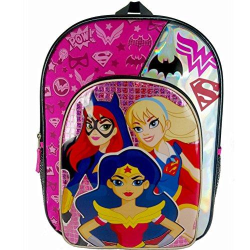DC Comics Super Hero Girls Batgirl Wonder Woman and Supergirl Backpack with Side Mesh Pockets