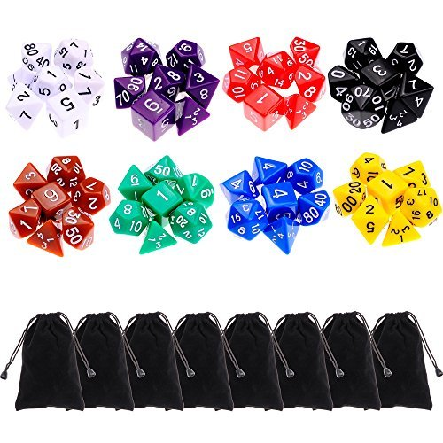 8 x 7 56 Pieces Polyhedral Dice 8 Color Dungeons and Dragons DND MTG RPG D20 D12 D10 D8 D6 D4 Game Dice Set Math Dice Games by supla
