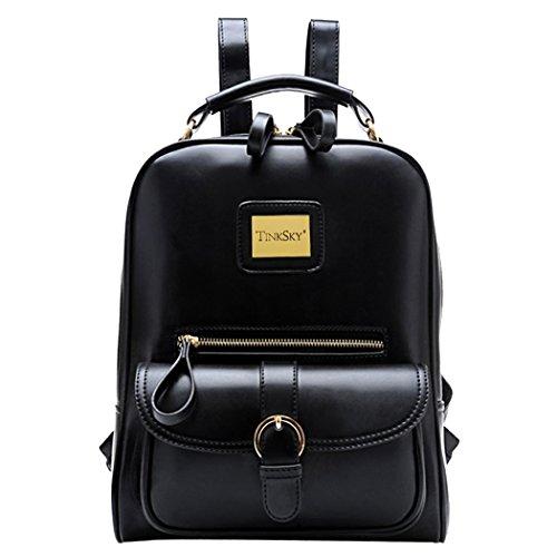 TinkskyVintage Shoulders Bag Fashion Student Backpack School Bag Black