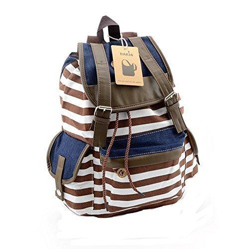 Unisex Fashion Canvas School Bag Stripe School College Laptop BackpackBROWN