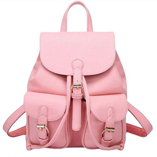 Yonger Hot Fashion Small Backpack Rucksack Satchel Shoulder Bag Leather Women Pink
