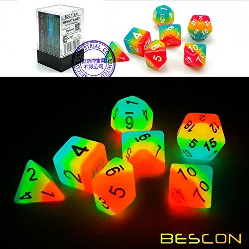 Bescon Fantasy Rainbow Glowing Polyhedral Dice 7pcs Set Midnight Candy Luminous RPG Dice Set Glow in Dark Novelty DND Game Dice d4 d6 d8 d10 d12 d20 d in Brick Box