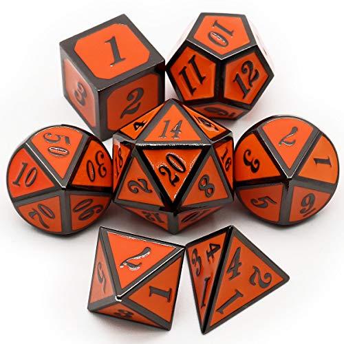 Haxtec 7 Die Metal DND Dice Set Black Orange D20 D12 D10 D8 D6 D4 for Dungeons and Dragons Pathfinder RPG Games