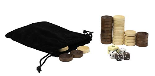 DA VINCI Solid Wood Backgammon and Checkers Pieces 30 Replacement Ridged Game Chips with Cloth Storage Bag 1 Inch Diameter  5 Dice