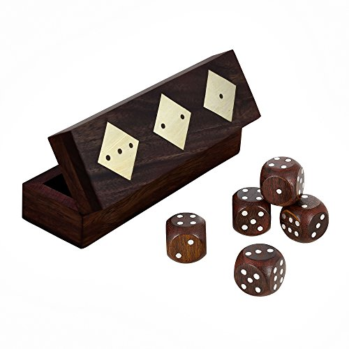 Wooden Dice Game Set of 5 Dice with Brass Inlay Designed Box Set of 2