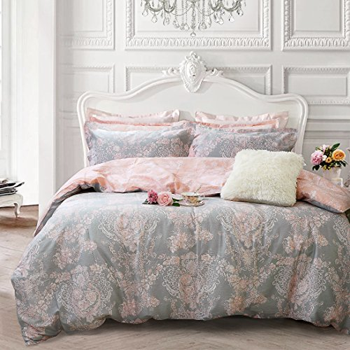 Brandream Blush Pink Bedding Sets Damask Floral Bedding 100 Cotton Duvet Cover Set 3-Piece King SizeComforter not Included