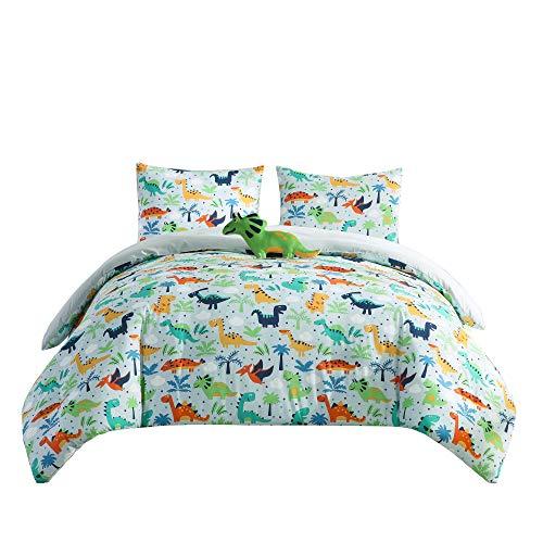 Chezmoi Collection 4-Piece Kids Bedding Comforter Set - Soft Microfiber Baby Blue Multi-Color Dinosaurs FullQueen