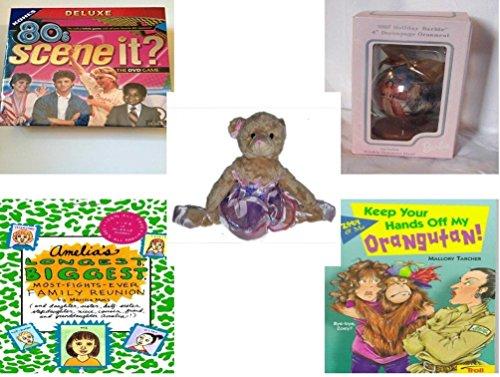 Girls Gift Bundle - Ages 6-12 5 Piece - 80S Scene It The Deluxe DVD Trivia Game - Barbie 1997 Holiday Barbie 4 Decoupage Ornament - Grand Jete Pose Ballerina Bear Purple Tutu Plush 12 - Ameli