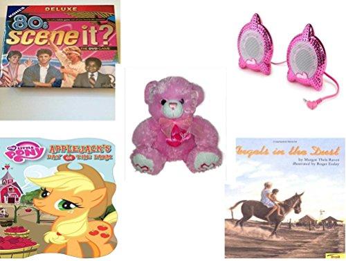 Girls Gift Bundle - Ages 6-12 5 Piece - 80S Scene It The Deluxe DVD Trivia Game - Bratz Be-Bratzcom Speakers - Lovable Huggable Pink Bear Plush 12 - My Little Pony Applejacks Day on the Farm