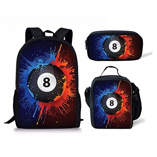 ELEQIN Billiard Ball Printed Bookbag Children Schoolbag Teenagers Backpack Set with Lunch Bag Pencil Case